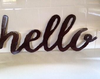 Handmade Custom Metal Hello Sign