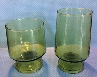 Green Vintage Glasses (set of 5)