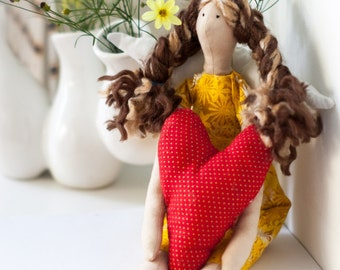 Tilda Doll - Angel - Brunette with Highlights - Yellow Dress - Red Heart