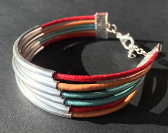 Multi Strand Leather Silver Tube Cuff Bangle Bracelet - Metallic Blue, Light Brown, Cherry Red