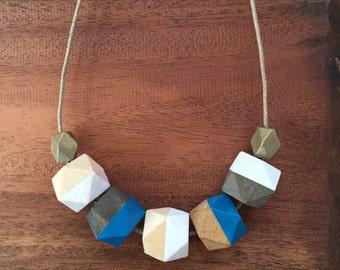 Cape Cod Blue Geometric necklace - wooden necklace - geometric jewelry - wooden jewelry