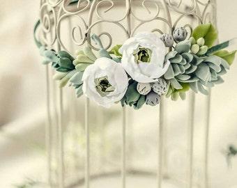 peony tiara, succulents headband,  flowers tiara, rustic jewelry, bride tiara, flowers girl,  succulent tiara