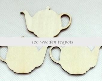 120 TEAPOT WOOD CUTOUT | Natural Wood Tea pot shapes | 40x55mm | CT1109