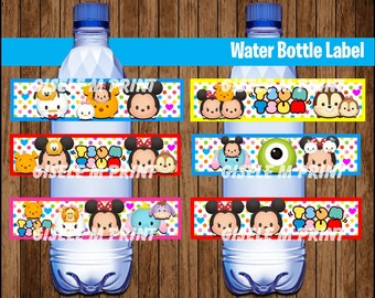 Tsum Tsum Water Bottle Label, Printable Tsum Tsum Water labels, Tsum Tsum party Water instant download