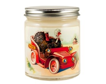 Thanksgiving Candle, Custom Scented Candle, Turkey Candle, Container Candle, Soy Candle, Vintage Thanksgiving Candle, Holiday Candle