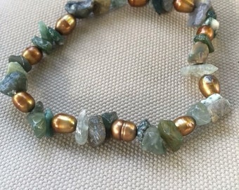 Cultured pearl and Fancy Jasper chip bracelet.