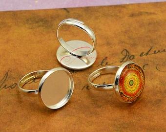 10pcs--Ring Setting Base/Blanks, Silver Plated Brass Adjustable Cabochon Ring Base Setting, inner 16mm RJ02360-3736