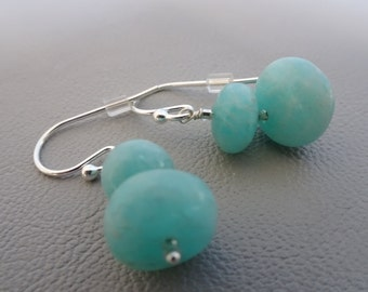 SALE!! 20% OFF!!! Silver earrings with gemstone Amazonite - dangling - sterling 925 zilver gift for girl woman
