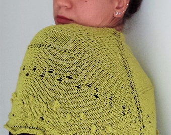 Knitted scarf, Knit shawl, Shawl knitted, Triangle knit scarf, Triangle knit shawl, Green knit shawl, Knit wraps shawl