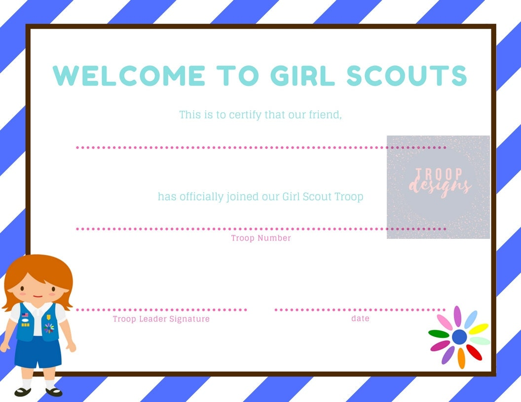 Welcome To Girl Scouts Daisy Certificate 277 Best Girl Scout