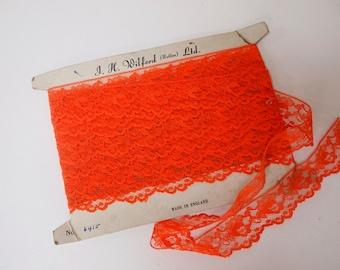 Beautiful vintage orange lace trim 3.5cm