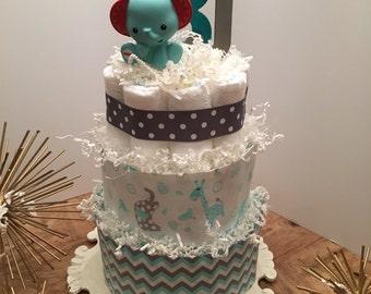 Baby Elephant Three Tier Diaper Cake