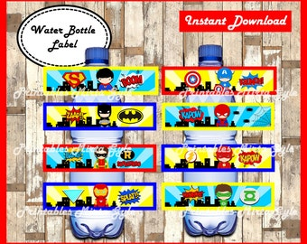 Superhero Water Bottle Label, printable Superhero party Water Bottle Label, Superhero baby water