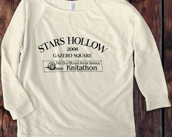 Gilmore Girls inspired 3/4 Sleeve Off the Shoulder Raglan Women's / design Stars Hollow Knitathon 2006 Shirt - Ink Printed