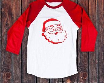 Christmas Santa Clause Raglan T-Shirt / Women's T-shirt Top Tee Shirt Antique Style Santa Clause Shirt - Screen Printed
