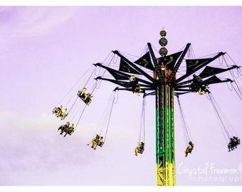 Vintage Carnival Swings Print,  Landscape Photography, Wall Art, Carnival Print, Swings, County Fair Decor