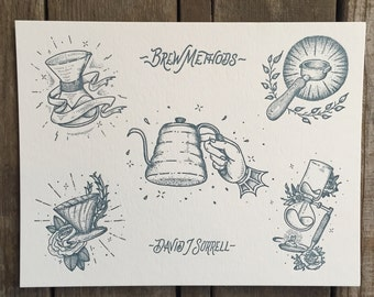 Coffee Flash Letterpress Print