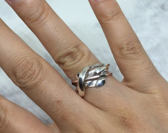 Size 7.25, vintage Sterling silver handmade ring, solid 925 silver band, stamped 925