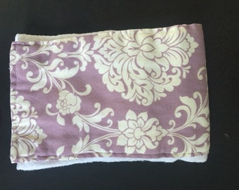 Purple floral burp cloth