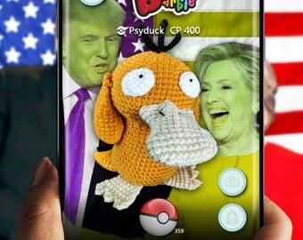 Pokemon Inspired, Psyduck crochet stuffed plush toy