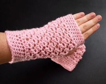 Light Pink Fingerless Gloves - Texting Knitting Mittens - Crochet Arm Warmers - Gift for her