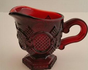 Avon 1876 Cape Cod Ruby Red Creamer/Avon Cape Cod/Red Creamer/Red Glass Creamer/Cape Cod/Creamer/Avon Red Creamer/Ruby Red Creamer