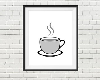 Cup of tea, cup of coffee, printable art, kitchen wall decor, office, lunchroom wall art, instant download, digital file