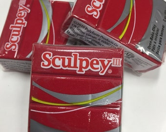 Sculpey III Deep Red Pearl Oven-Bake Clay - 2oz Polymer Oven-Bake Clay, New, Original Packaging, Polymer Clay supplies, Sculpey, Fimo