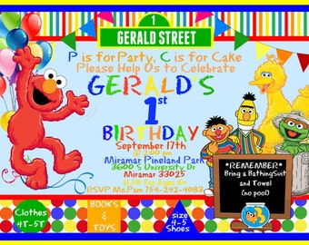 Elmo Sesame Street Birthday Party INVITATION