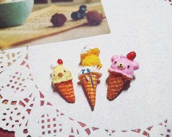 Sanrio San-X Rilakkuma Cabochons Kiritori Kawaii Resin Deco Ice Cream (3 PCS)