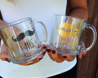 Clear Glass Coffee Mug- His & Hers Pair