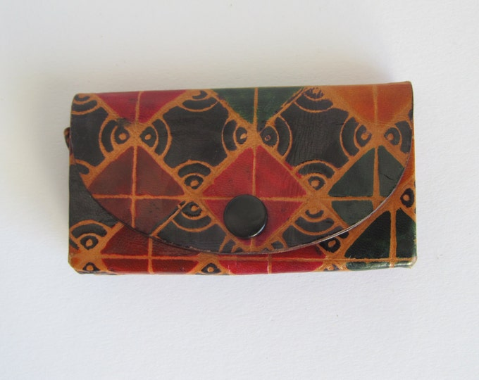Multicolor leather wallet, small handmade coin purse in multiple colours