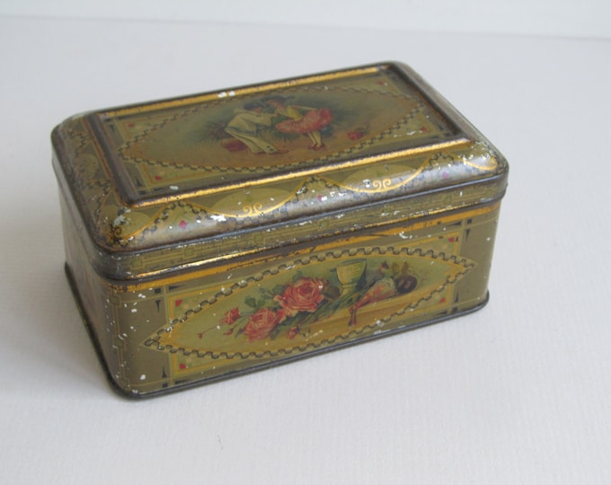 Antique chocolate tin, lithographed box with children in pierrot and dancer costumes, collectible kitchen storage