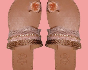 "Handmade leather sandal ""Electra"" with beige sole"