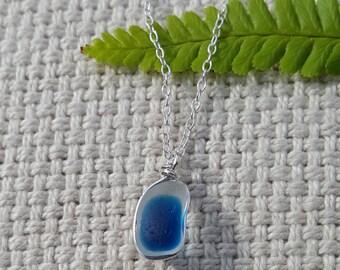Blue Multi Seaham Seaglass Pendant
