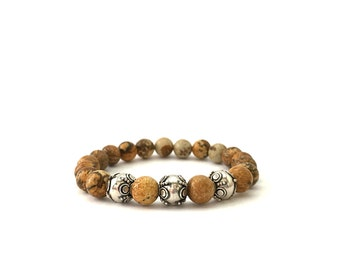 925 Sterling SILVER BROWN PICTURE Jasper
