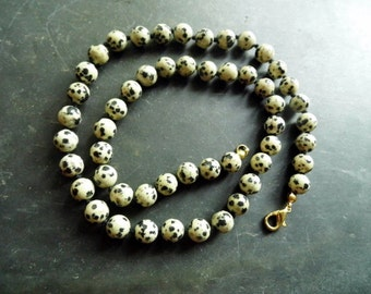 Necklace, Dalmatian Jasper, Jewelry, individually knotted, black, white