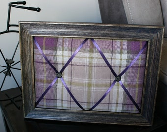 Chic Tartan Fabric Memo/Pin/Memory/Photo/Notice/Jewellery Board - vintage style