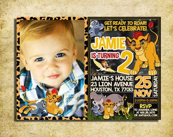 Lion Guard Invitation - Lion Guard Chalkboard Birthday Party Invite With Photo - Printable And Digital File
