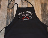 Grill Boss Personalized Apron - Available in Black, White, Blue, Green, Red and more colors of Aprons - BBQ Men's Apron