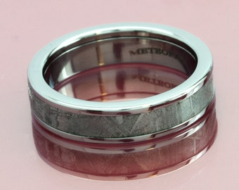 Authenticated Scandinavian Meteorite Inlaid Titanium Ring 5MM-Flat