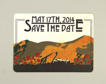 California Figueroa Mountain with Poppies Wedding Save the Date Postcard Announcement