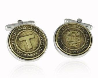 Boston Transit Token Cufflinks Sterling Silver Subway Coin Fare Groomsmen Groom Wedding Gift Cuff Links
