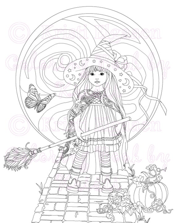 Adult Coloring Page Fantasy Art Digital Download Coloring