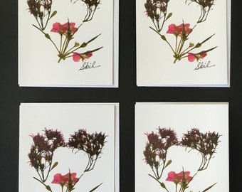 """Set of 4 Cards - Large """"Heart"""" Card Prints"""