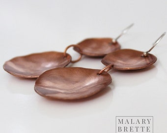 Copper Double Domed Disc Earrings with Sterling Silver Earwire