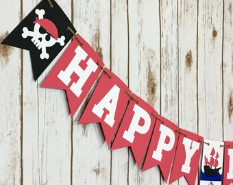 Pirate Birthday Banner, Pirate Theme, Pirate Party, Pirate Banner, Photo Prop, Happy Birthday Banner, First Birthday,