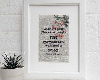 Romeo and Juliet Quote Print - Literary Print - Antique Book Page Art Print - Book Lover Gift - Home Decor - Classic Literature Gift