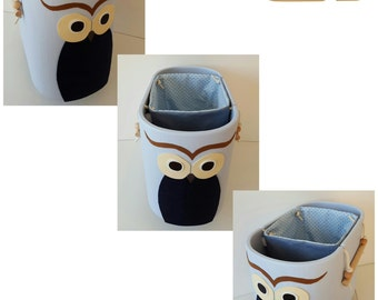 Storage box, wooden toys on wheels with Pocket - OWL