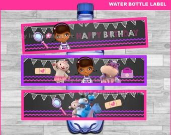 Doc McStuffins water bottle labels Instant download, Doc McStuffins Chalkboard water labels, Doc McStuffins party water labels